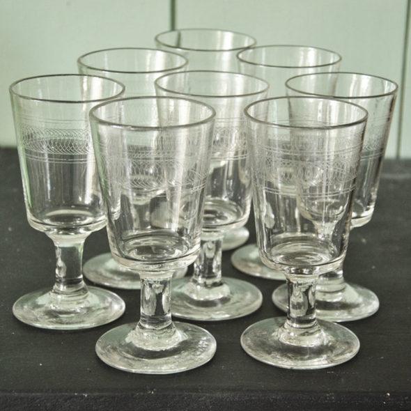 8 Grands  verres XIXème – V 1287