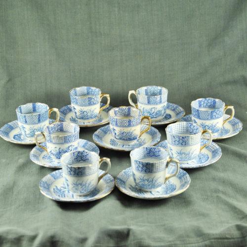 9 tasses à café XIXème Lunéville F-3137b